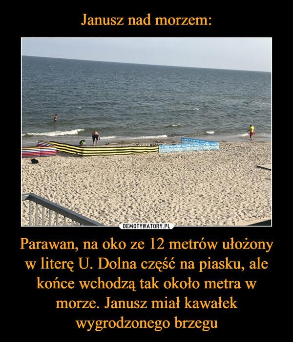 Parawan, na oko ze 12 metrów ułożony w literę U. Dolna część na piasku, ale końce wchodzą tak około metra w morze. Janusz miał kawałek wygrodzonego brzegu –