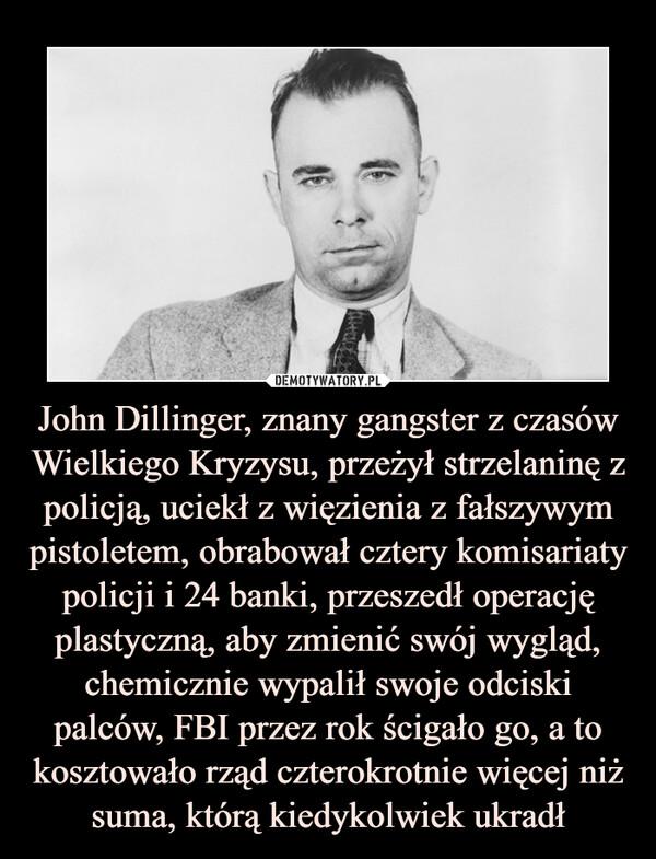 John Dillinger, znany gangster z czasów Wielkiego Kryzysu, przeżył strzelaninę z policją, uciekł z więzienia z fałszywym pistoletem, obrabował cztery komisariaty policji i 24 banki, przeszedł operację plastyczną, aby zmienić swój wygląd, chemicznie wypalił swoje odciski palców, FBI przez rok ścigało go, a to kosztowało rząd czterokrotnie więcej niż suma, którą kiedykolwiek ukradł –